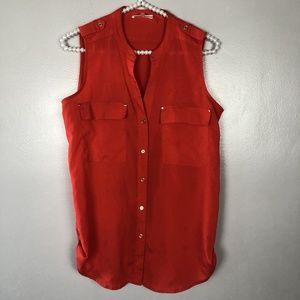 Calvin Klein S Small Orange Button Sleeveless